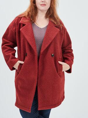 Manteau droit boutonne rouge femmegt