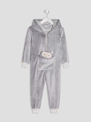 Combinaison de pyjama gris clair fille