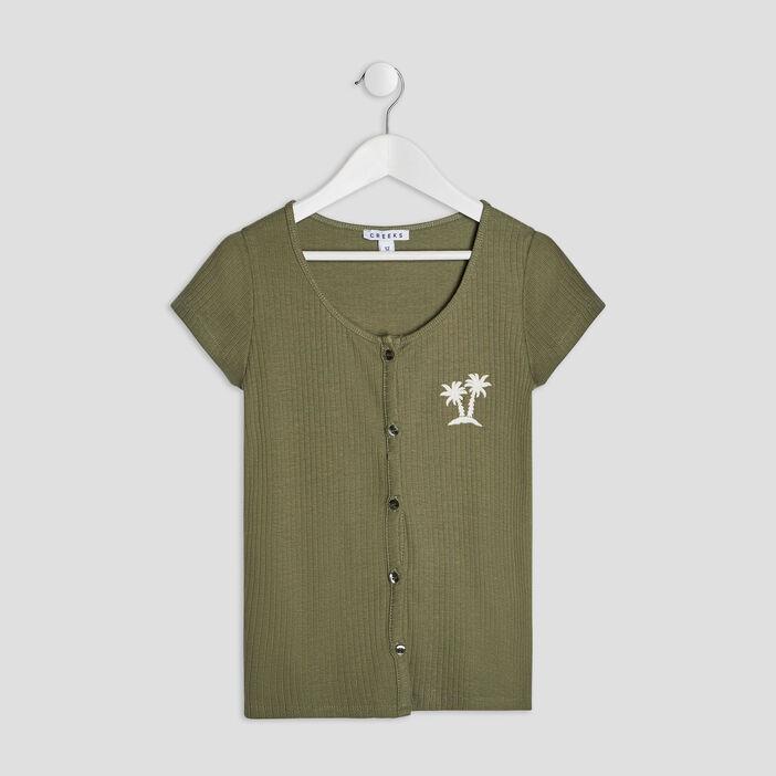 T-shirt manches courtes Creeks fille vert kaki