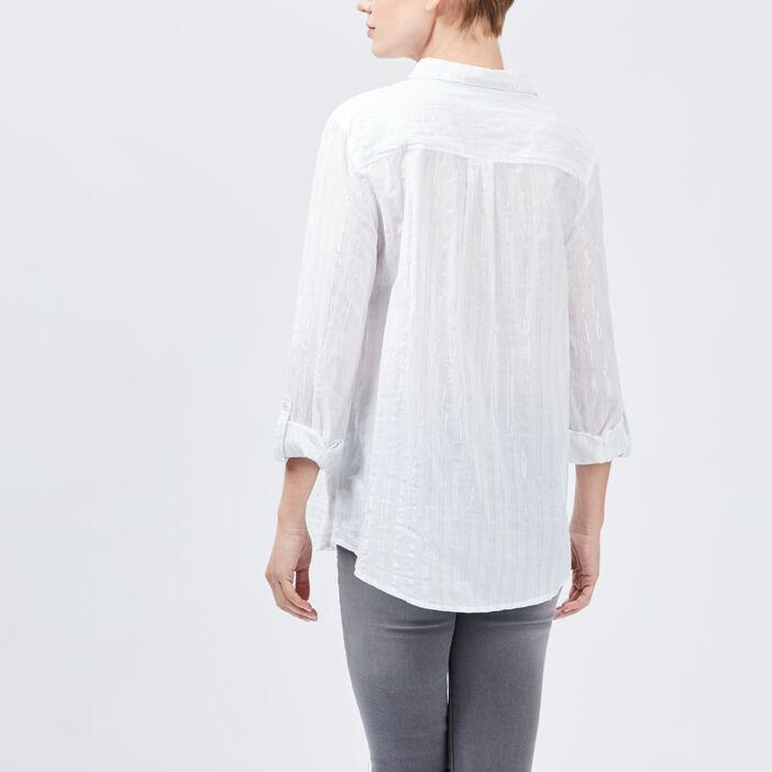 Chemise rayée coton manches ajustables femme blanc