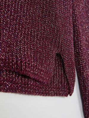 Pull col rond fil brillant bordeaux fille
