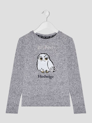 Pull Harry Potter gris clair fille