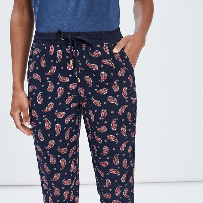 Pantalon droit avec lien femme bleu marine
