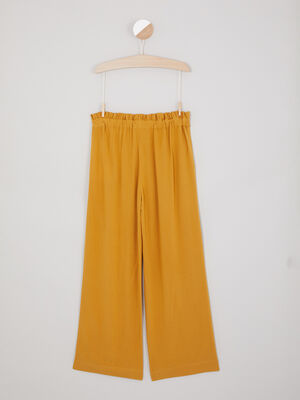 Pantalon fluide evase a boutons jaune moutarde fille
