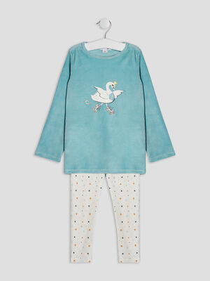 Ensemble pyjama 2 pieces bleu ciel fille