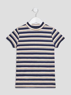 T shirt manches courtes cotele bleu marine fille