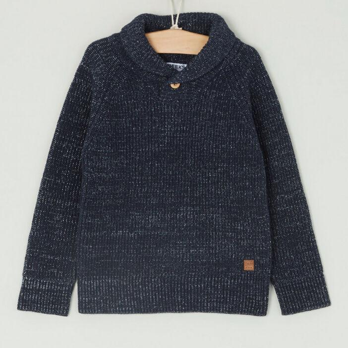 Pull col châle coton majoritaire garçon bleu marine