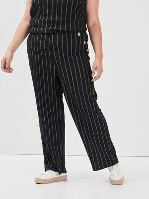 Pantalon droit grande taille noir femme