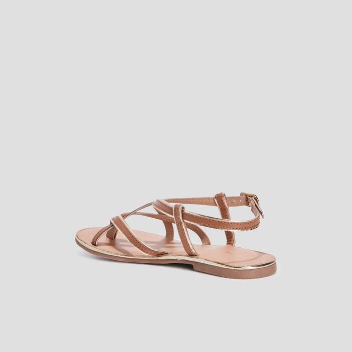Sandales en cuir avec entre-doigt femme marron