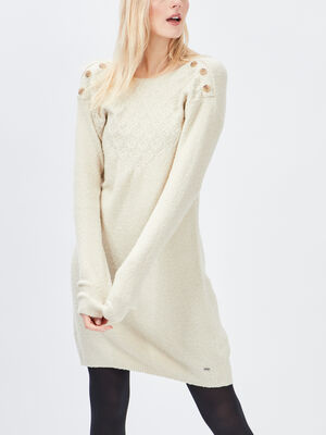 Robe pull droite a boutons ecru femme
