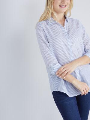 Chemise rayee coton manches ajustables bleu femme