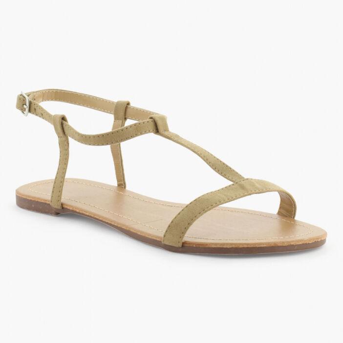 Sandales unies femme beige