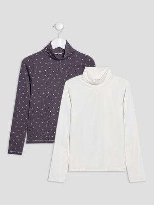 Lot 2 t shirts manches longues gris fonce fille
