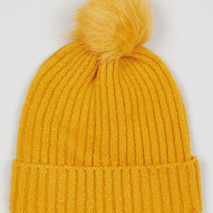 Bonnet uni avec pompon fille jaune moutarde