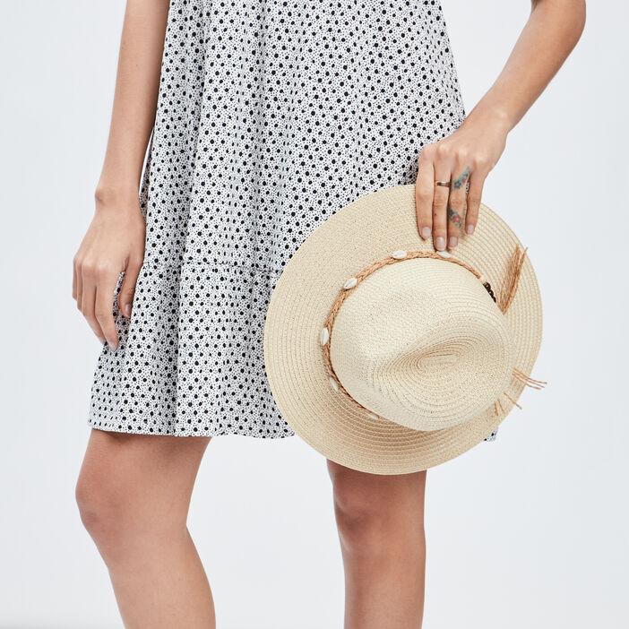 Chapeau avec coquillages femme beige