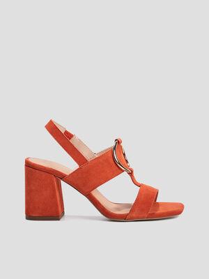 Sandales avec boucles orange fonce femme