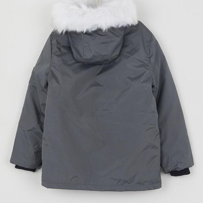 Parka zippée à poches garçon gris foncé