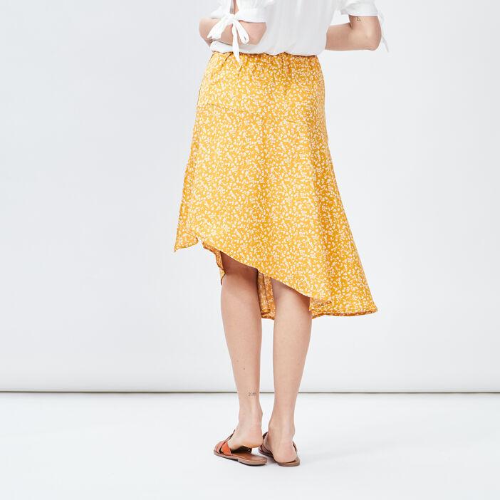 Jupe portefeuille asymétrique femme jaune moutarde