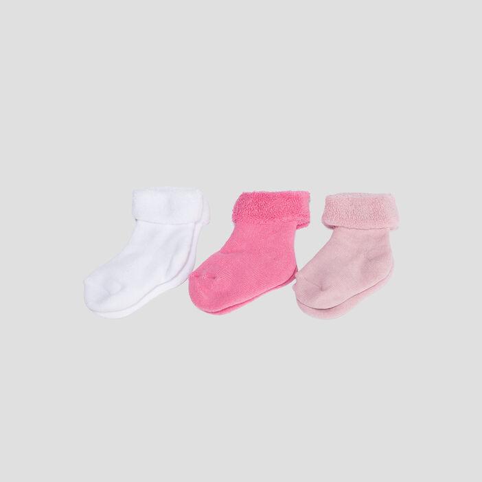Lot 3 paires chaussettes bébé fille rose clair
