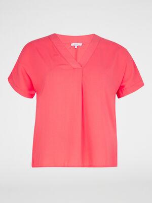 Chemise manches courtes rose framboise femme