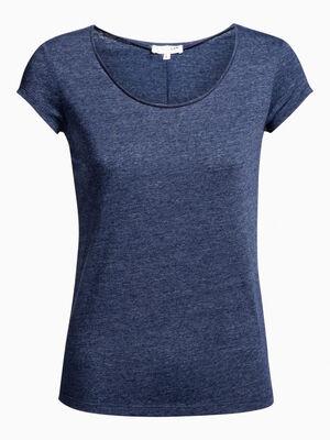 T shirt chine manches courtes bleu marine femme