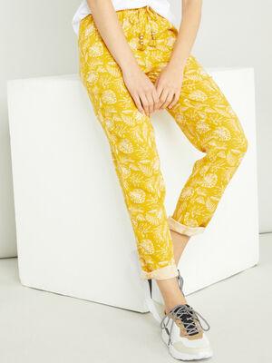Pantalon taille extensible pompons jaune moutarde femme