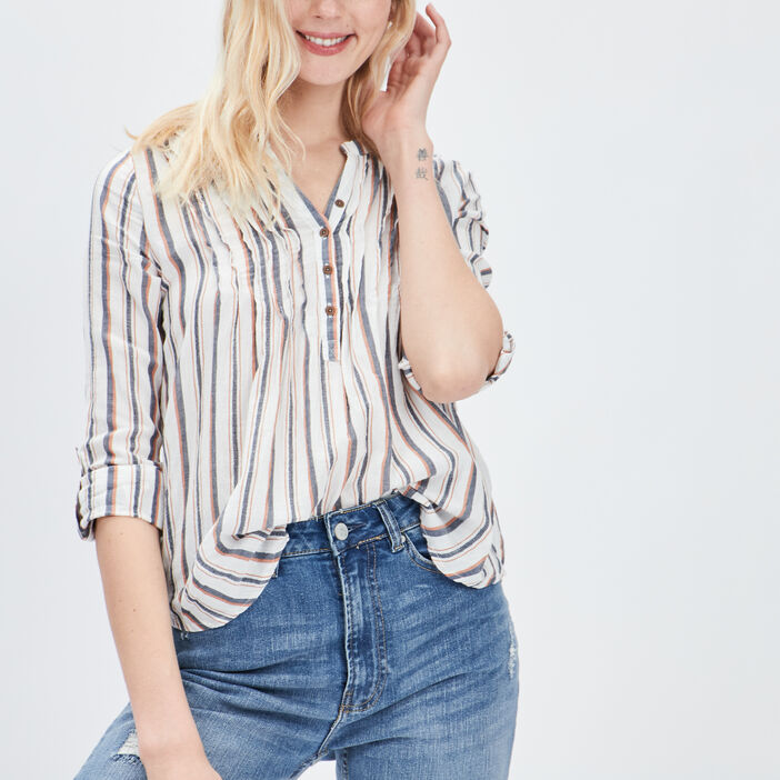 Blouse manches 3/4 femme jaune moutarde