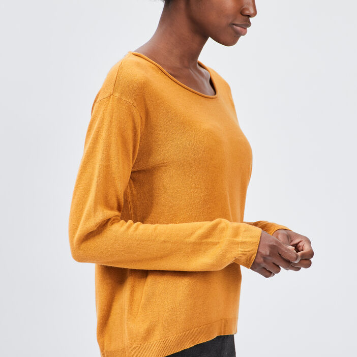 Pull avec col rond femme jaune moutarde