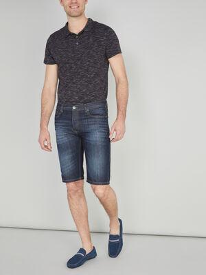 Bermuda droit jean coton melange denim stone homme