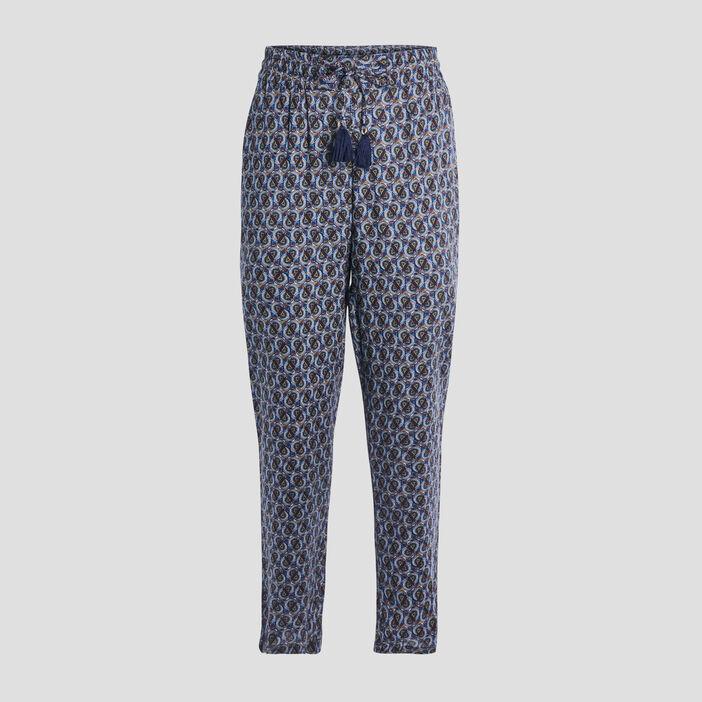 Pantalon droit fluide femme bleu