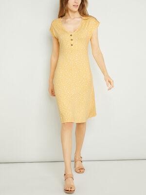 Robe imprimee evasee manches courtes jaune femme