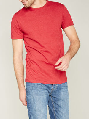 T shirt col rond uni rouge homme