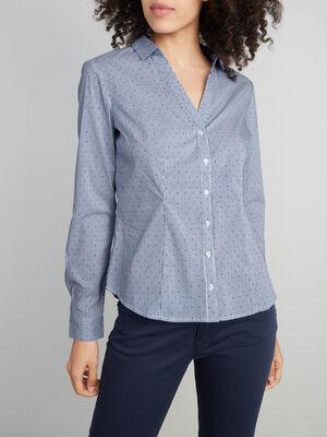Chemise droite imprimee bleu femme