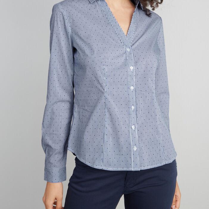 Chemise droite imprimée femme bleu