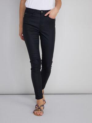 Pantalon skinny en toile enduite noir femme