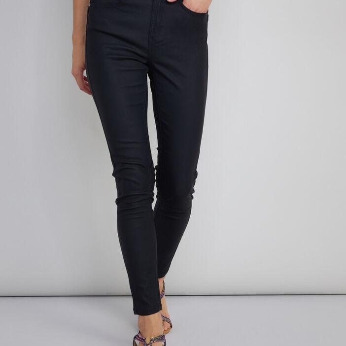 Pantalon skinny en toile enduite femme noir