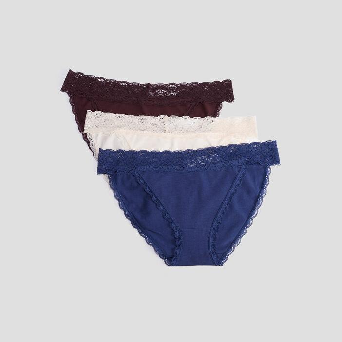 Lot 3 culottes avec dentelle femme violet foncé