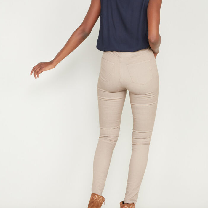 Pantalon uni coupe slim femme beige
