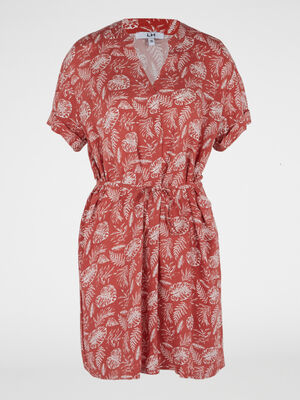 Robe imprimee col tunisien rose framboise femme