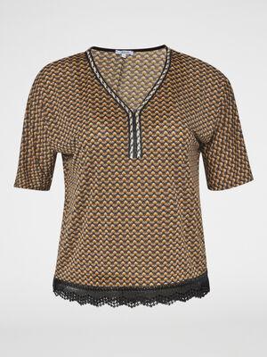 T shirt imprime base dentelle jaune moutarde femmegt