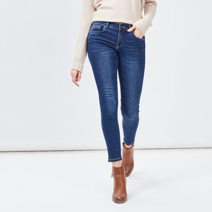 Jeans slim 7/8ème femme denim brut