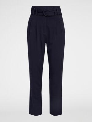 Pantalon taille haute avec ceinture bleu marine femme