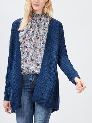Gilet details torsades bleu femme