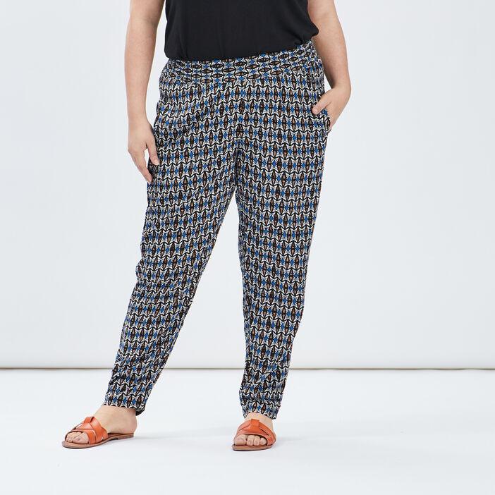 Pantalon droit fluide femme grande taille multicolore