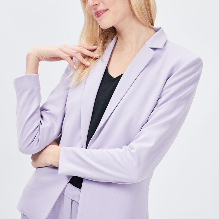 Veste droite boutonnée femme parme