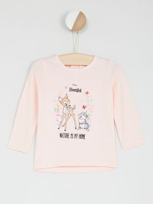 T shirt manches longues Bambi rose clair fille