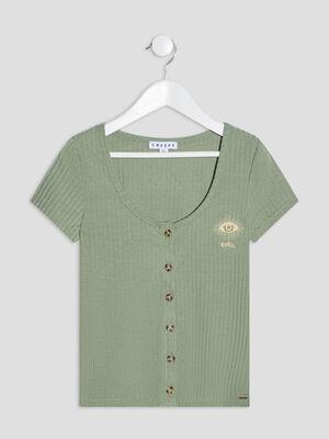 T shirt manches courtes Creeks vert kaki fille