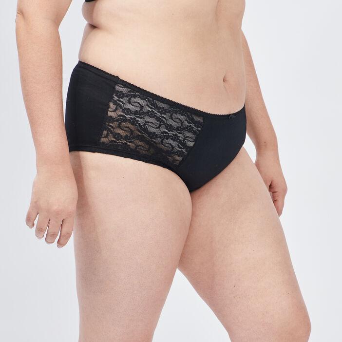 Boxer à dentelle femme grande taille noir