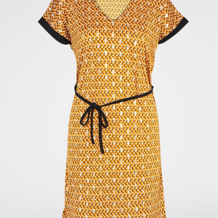 Robe droite ceinturée manche courtes femme jaune moutarde