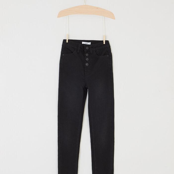 Pantalon droit uni à boutons fille denim snow noir